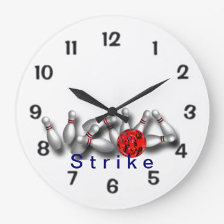 Strike Red Ball Bowling Large Clock