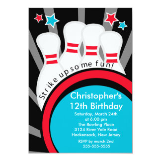 Strike up Fun Bowling Birthday Party Invitation
