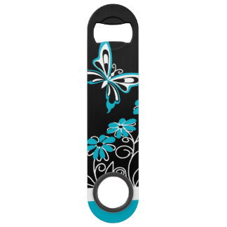Striking Aqua Blue Butterfly and Flowers