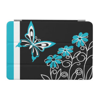Striking Aqua Blue Butterfly and Flowers iPad Mini Cover