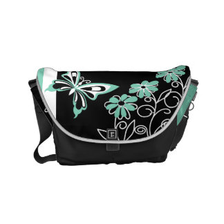 Striking Aqua Green Butterfly and Flowers Messenger Bag