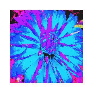 Striking Blue and Purple Dahlia Flower on canvas Gallery Wrap Canvas