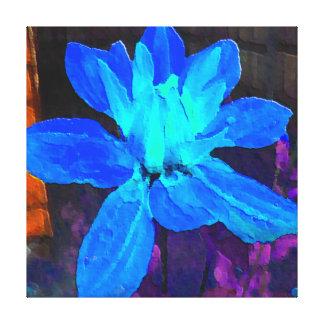 Striking Blue Dahlia on Canvas Stretched Canvas Prints