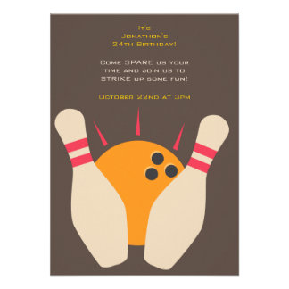 Striking Bowling Party Invitation
