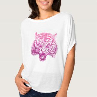 Striking Hand Drawn Tiger Pink Women's Flowy Top