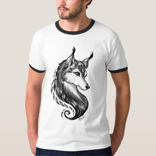Striking Hand Drawn Wolf Men's Ringer Shirt