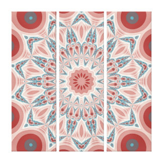 Striking Modern Kaleidoscope Mandala Triptych Canvas Print