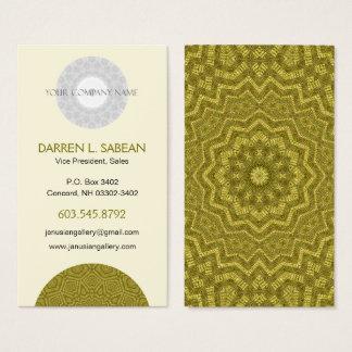 Striking Olive and Gold Mandala Kaleidoscope Business Card