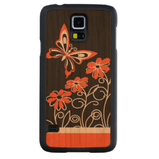 Striking Orange Butterfly and Flowers on Black Carved Cherry Galaxy S5 Case