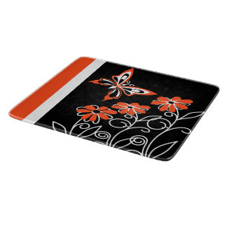 Striking Orange Butterfly and Flowers on Black Cutting Board