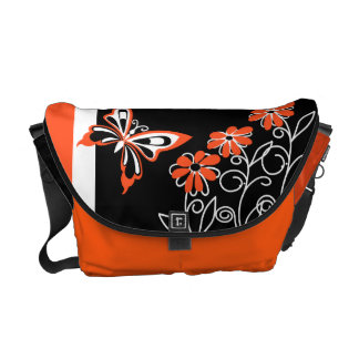 Striking Orange Butterfly and Flowers on Black Courier Bag
