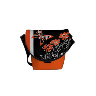 Striking Orange Butterfly and Flowers on Black Courier Bags