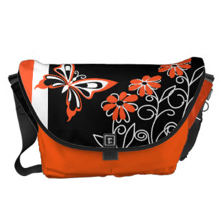 Striking Orange Butterfly and Flowers on Black Messenger Bags