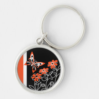 Striking Orange Butterfly and Flowers on Black Silver-Colored Round Key Ring