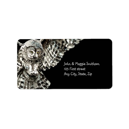 Striking Owl Bird Nature Custom Art Label