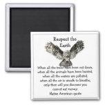 Striking Owl Respect the Earth Native American Fridge Magnets