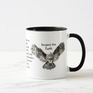 Striking Owl Respect the Earth Native American Mug