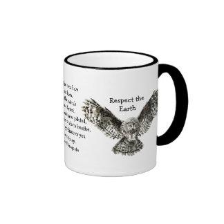 Striking Owl Respect the Earth Native American Ringer Mug