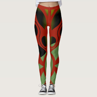 STRIKING RED ART DECO by Slipperywindow Leggings