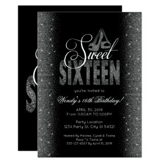 Striking Silver Glitter Sweet 16 Party Invitations