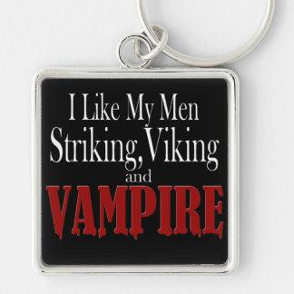 Striking Viking vampire Silver-Colored Square Key Ring