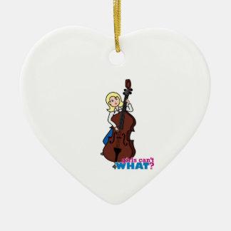 String Bass Player Girl - Light/Blonde Christmas Ornament