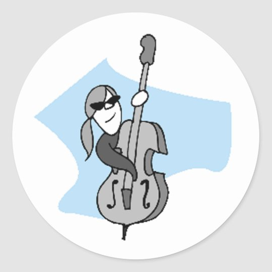 String Instruments-Double Bass Classic Round Sticker