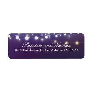 String Light Evening Wedding Return Address Labels