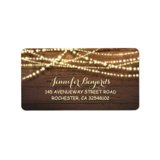 String Lights and Barn Wood Rustic Address Label