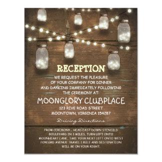 string lights and mason jars wedding reception 11 cm x 14 cm invitation card