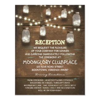 string lights and mason jars wedding reception personalized invitations