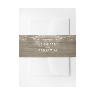 String Lights and Rustic Wood Wedding Invitation Belly Band