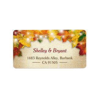 String Lights Autumn Leaves Rustic Burlap Seasonal Address Label