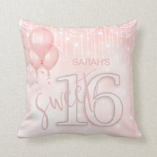 String Lights & Balloons Sweet 16 Rose Gold ID473 Cushion