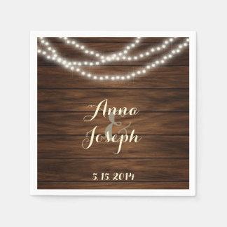 String lights barn wood napkins paper napkins