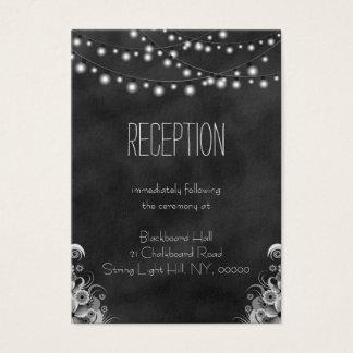 String Lights Black Chalkboard Reception Enclosure Business Card