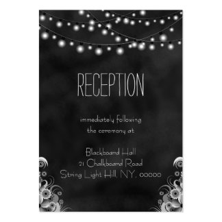 String Lights Black Chalkboard Reception Enclosure Pack Of Chubby Business Cards