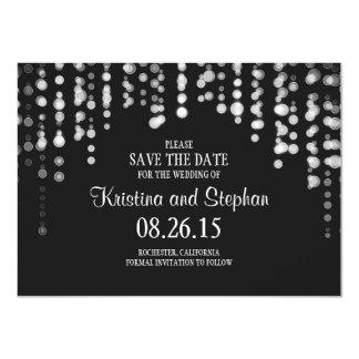 string lights black SAVE THE DATE cards 11 Cm X 16 Cm Invitation Card