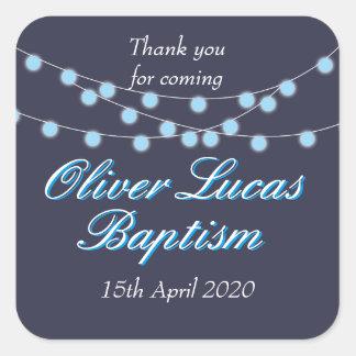 String Lights Blue Baptism Christening Favor Square Sticker