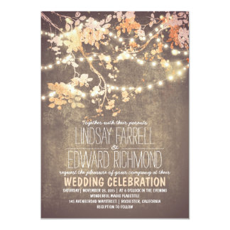 String Lights Branch Rustic Vintage Blush Wedding Card