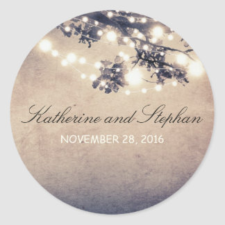 String Lights Branches Rustic Wedding Round Sticker