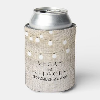 String Lights Burlap Rustic Can Cooler
