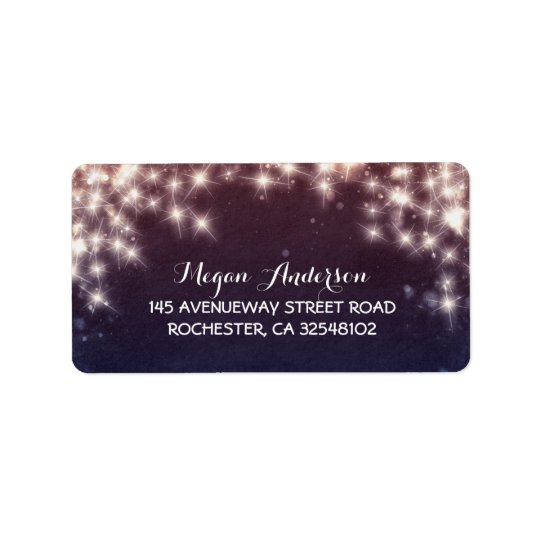 String Lights Burst Wedding Address Label