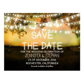 string lights colorful romantic save the date postcard