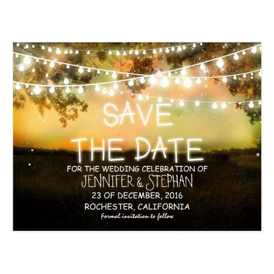 string lights colourful romantic save the date postcard