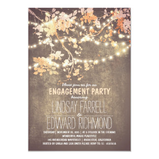 String lights cute and fancy engagement party card