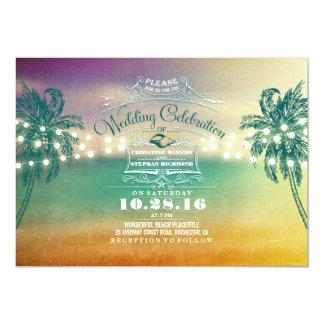 String lights cute beach wedding invitations
