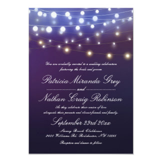 String Lights Evening Wedding Card
