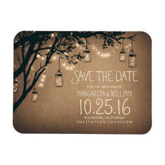 string lights fireflies mason jars save the date magnet