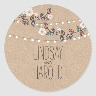 string lights floral branches rustic wedding round sticker
